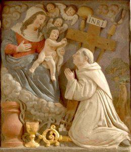 Bernhard verehrt die Gottesmutter. Ein Relief in der ehemaligen Kirche des Klosters St. Thomas bei Kyllburg